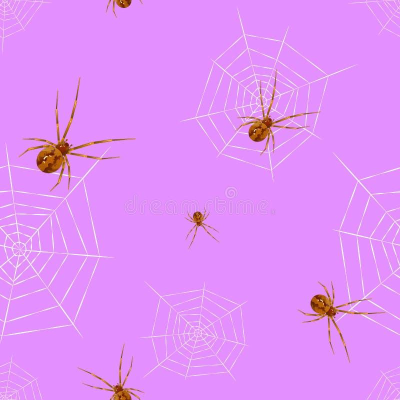 Modelo inconsútil de la telaraña de la araña para la educación y ciencia y todo el diseño gráfico stock de ilustración