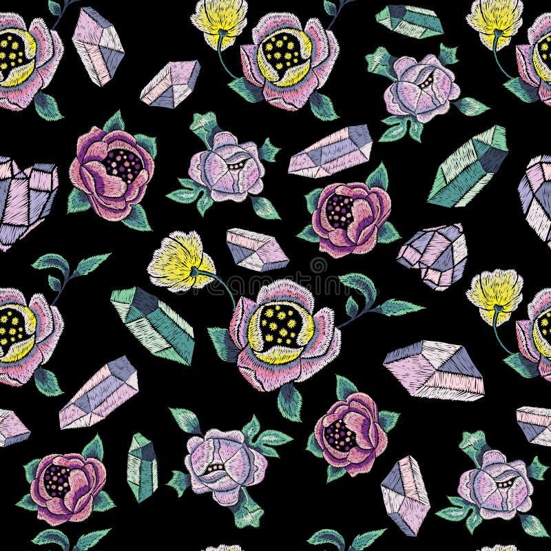 Modelo inconsútil de la tendencia del bordado con las gemas y las flores ilustración del vector