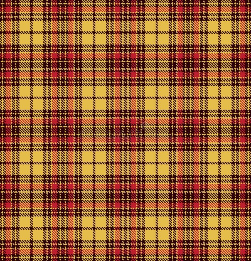 Modelo inconsútil de la textura de la tela escocesa del control del tartán en amarillo, rojo y marrón ilustración del vector