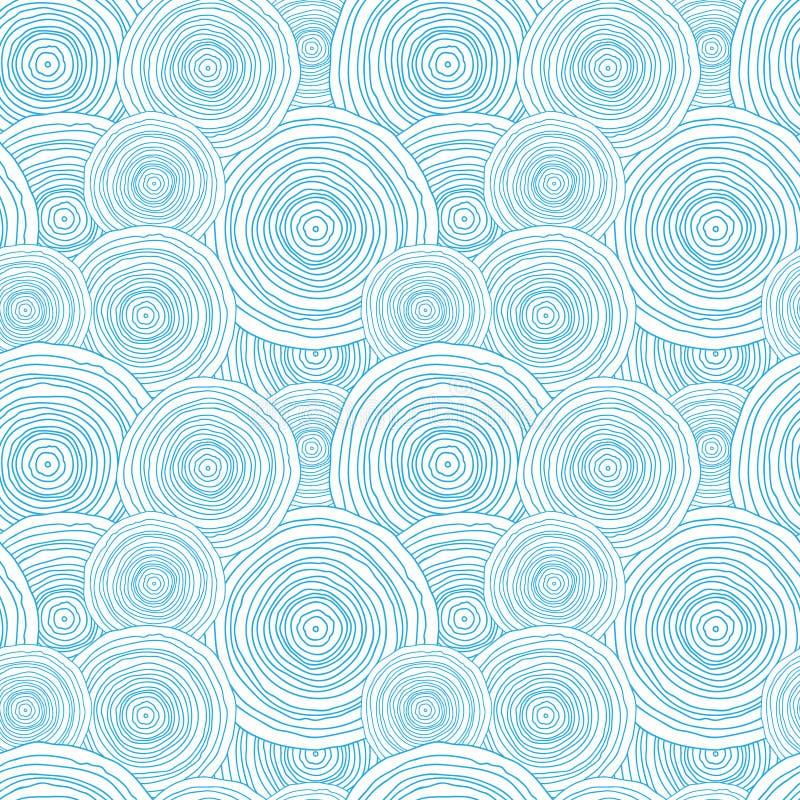 Modelo inconsútil de la textura del agua del círculo del garabato ilustración del vector