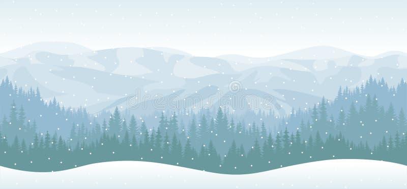 Modelo inconsútil de la textura del bosque de las montañas del vector stock de ilustración