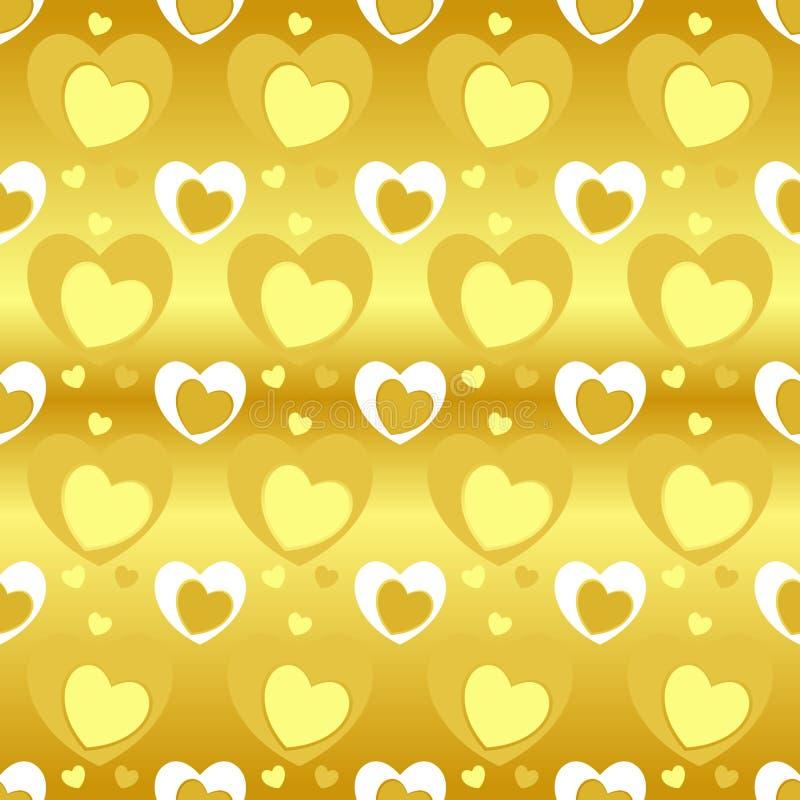 Modelo inconsútil de la textura del corazón en el color amarillo, diversos tamaños del corazón en fondo amarillo de la pendiente  stock de ilustración