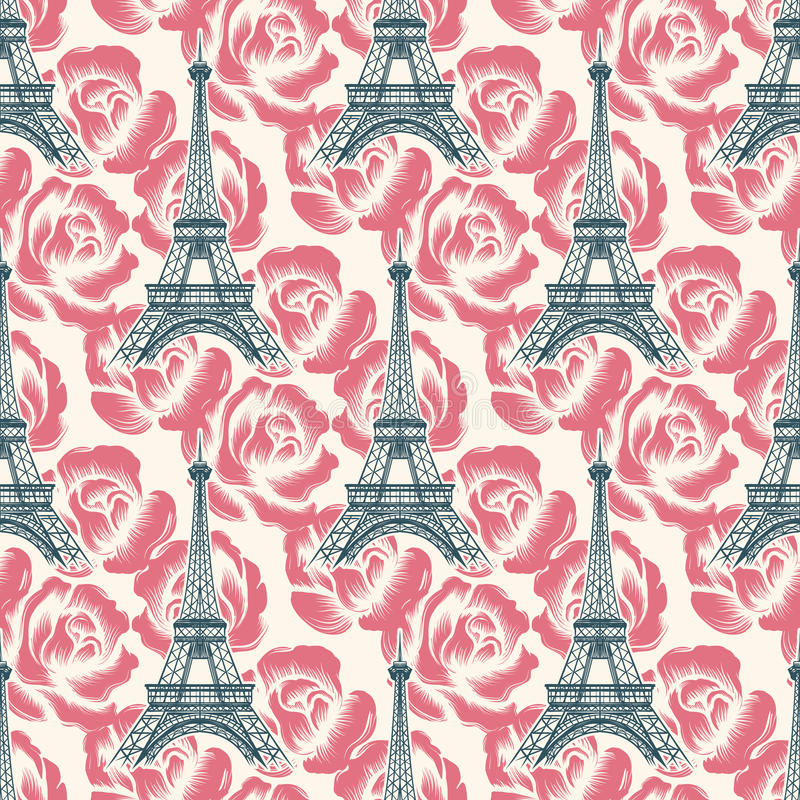 Modelo inconsútil de la torre Eiffel del vintage ilustración del vector