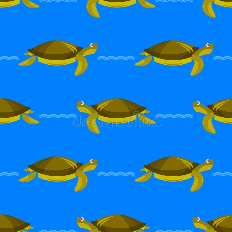 Modelo inconsútil de la tortuga del océano Textura animal simple gráfica del mar libre illustration