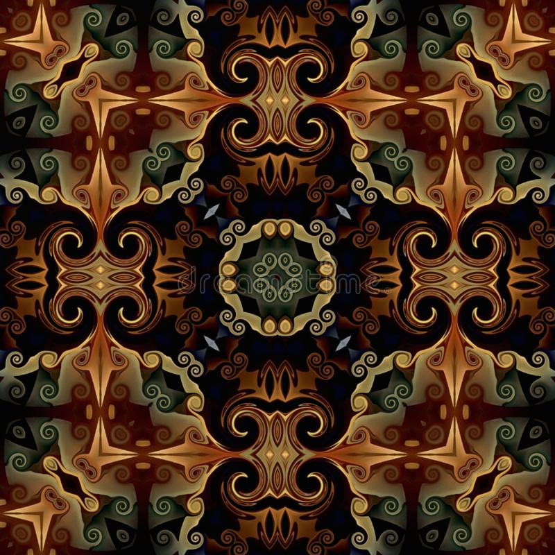 Modelo inconsútil de la trama en el modelo de mosaico psicodélico del estilo oriental para el papel pintado, fondos, decoración p stock de ilustración
