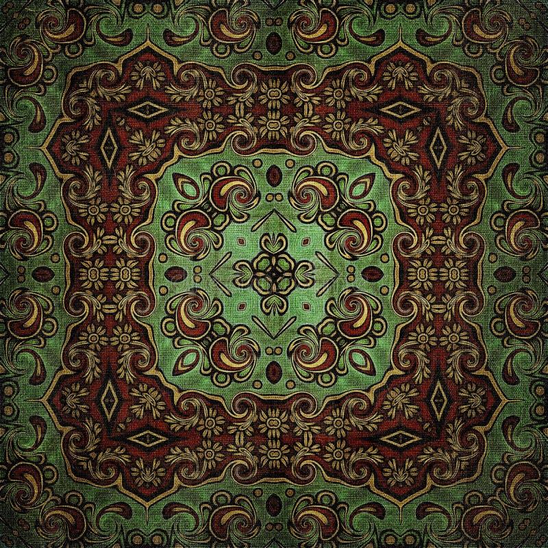 Modelo inconsútil de la trama en el modelo de mosaico psicodélico de la flor oriental del estilo para el papel pintado, fondos, d stock de ilustración