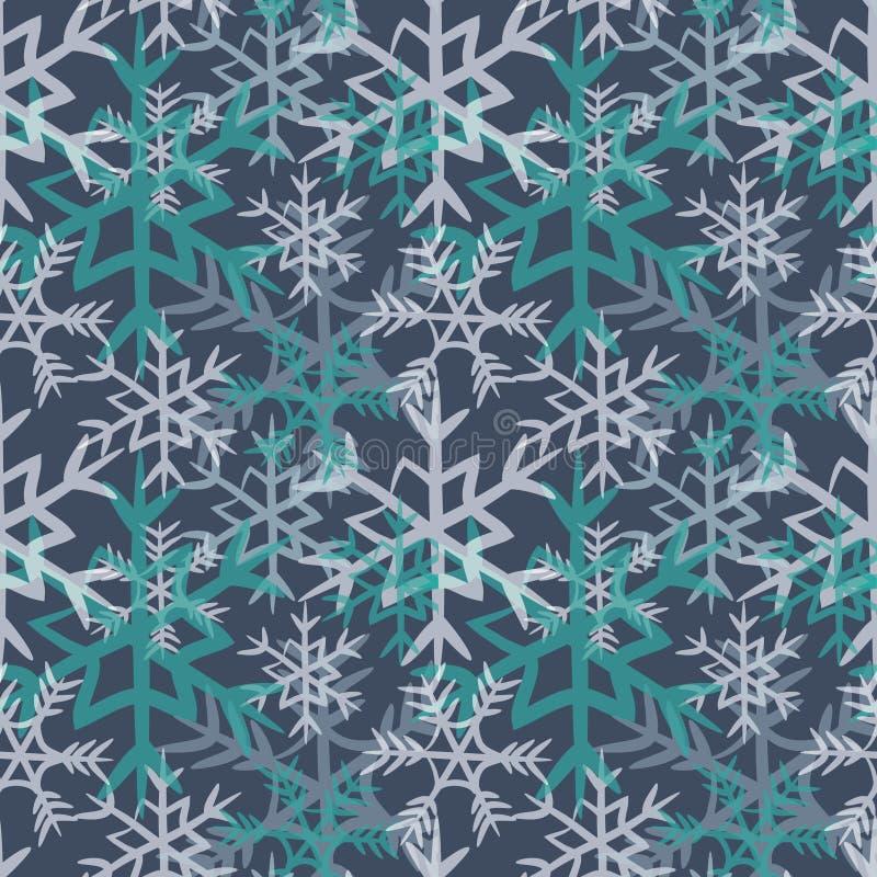 Modelo inconsútil de la turquesa y de los copos de nieve blancos Ejemplo del vector en fondo azul marino stock de ilustración