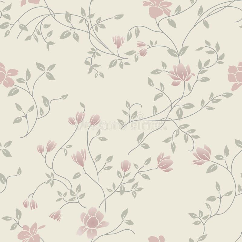 Modelo inconsútil de la vendimia floral ligera libre illustration