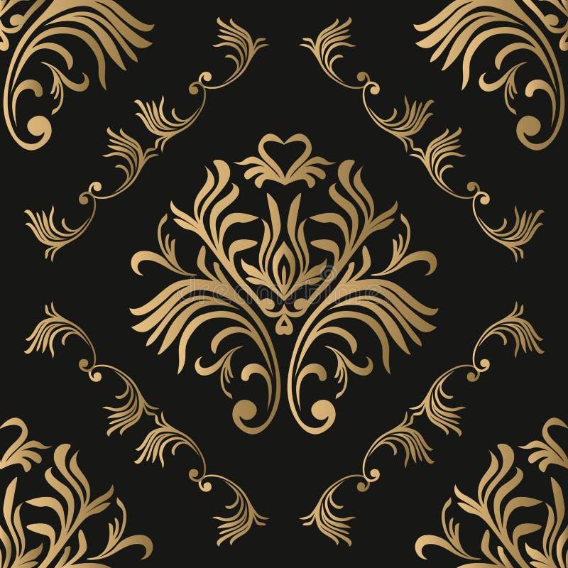 Modelo inconsútil de la vendimia Papel pintado adornado floral Fondo oscuro del damasco del vector con los ornamentos y las flore libre illustration