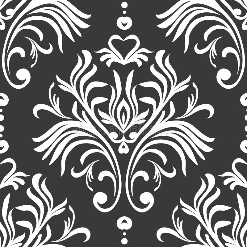 Modelo inconsútil de la vendimia Papel pintado adornado floral Fondo oscuro del damasco del vector con los ornamentos y las flore ilustración del vector