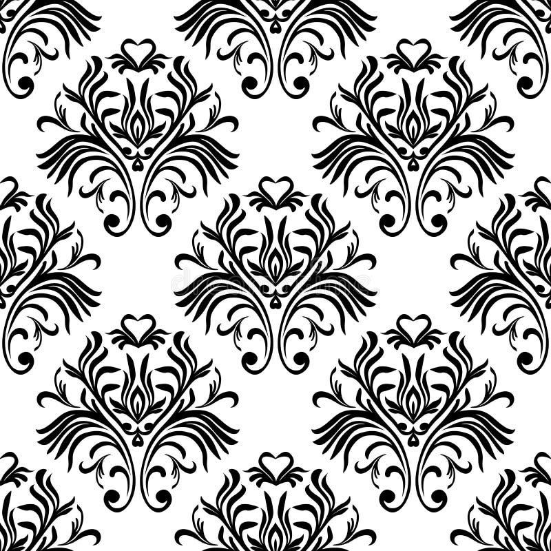 Modelo inconsútil de la vendimia Papel pintado adornado floral Vector el fondo del damasco con los ornamentos y las flores decora stock de ilustración