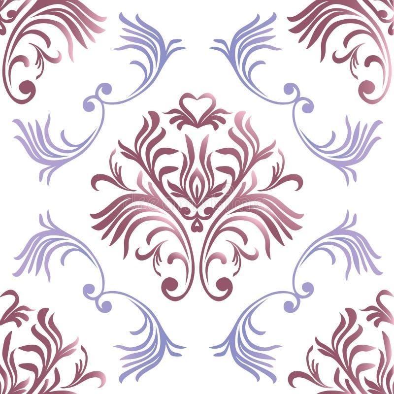 Modelo inconsútil de la vendimia Papel pintado adornado floral Vector el fondo del damasco con los ornamentos y las flores decora libre illustration