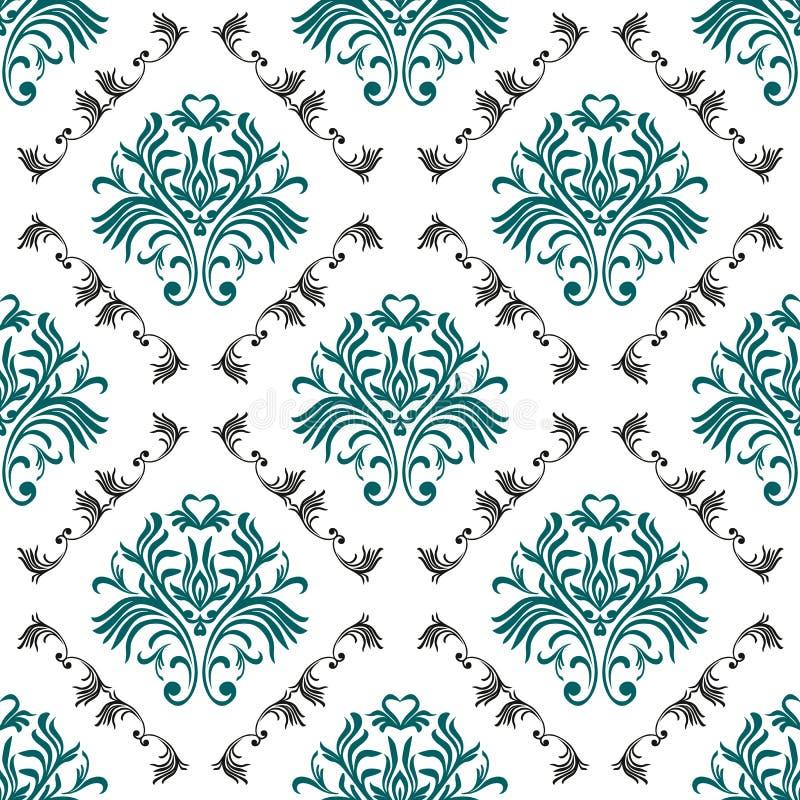 Modelo inconsútil de la vendimia Papel pintado adornado floral Vector el fondo del damasco con los ornamentos y las flores decora ilustración del vector