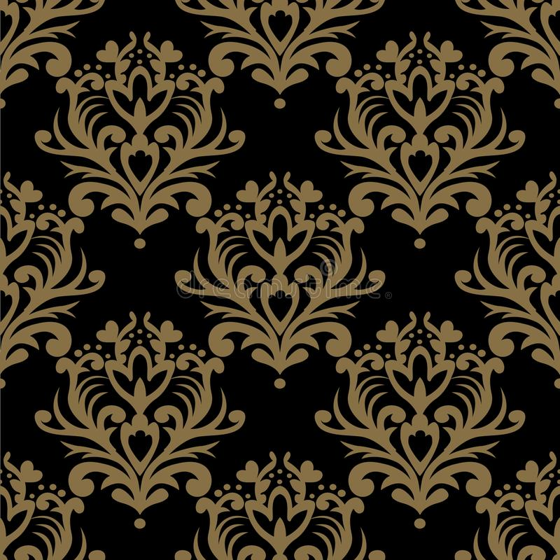 Modelo inconsútil de la vendimia Papel pintado adornado floral Vector oscuro d stock de ilustración