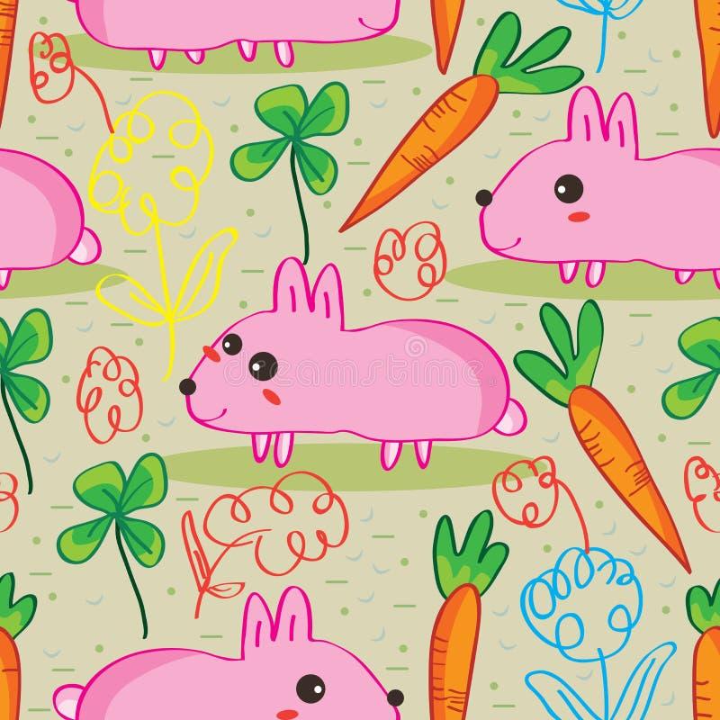 modelo inconsútil de la zanahoria del conejo ilustración del vector