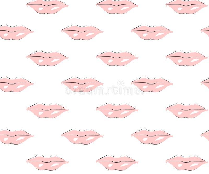 Modelo inconsútil de labios rosados con el resplandor blanco stock de ilustración