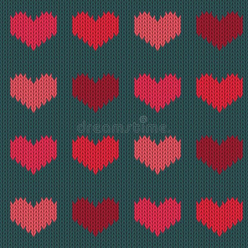 Modelo inconsútil de lana hecho punto con los corazones en tonos rosados en un fondo verde conífero stock de ilustración