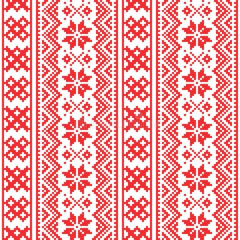 Modelo inconsútil de Laponia, diseño del arte popular de Scandianvian, fondo cruzado de la puntada de Sami libre illustration