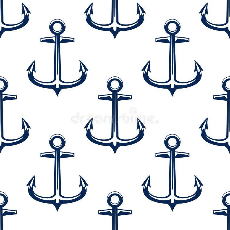 Modelo inconsútil de las anclas náuticas del vintage stock de ilustración