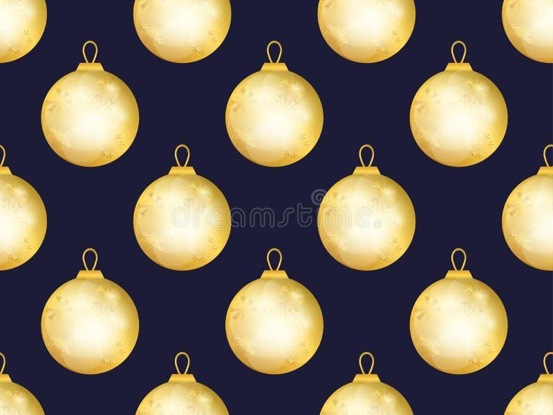 Modelo inconsútil de las bolas de la Navidad del oro Efecto de Bokeh Plantilla del diseño de la tarjeta de felicitación Vector libre illustration
