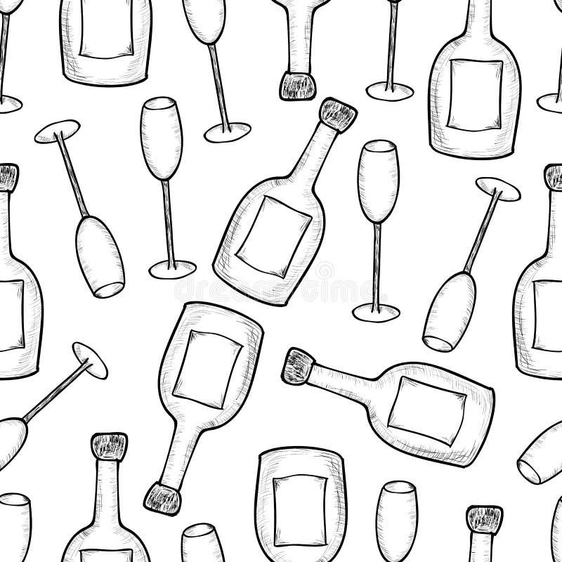 Modelo inconsútil de las botellas y de los glas dibujados mano del champagner ilustración del vector