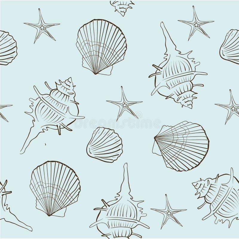 Modelo inconsútil de las cáscaras del mar en un fondo ligero de la turquesa stock de ilustración