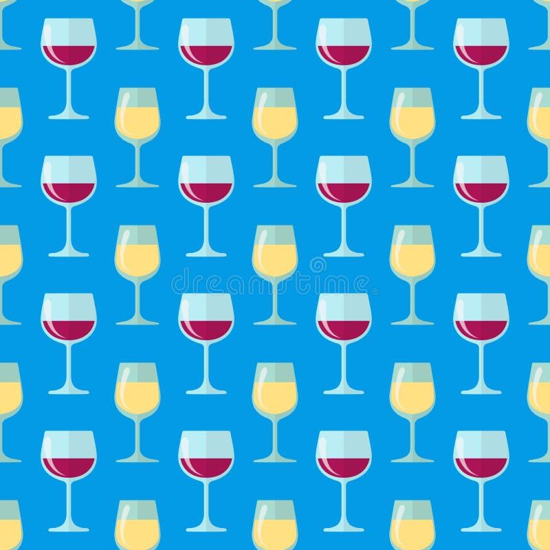Modelo inconsútil de las copas de vino completamente blancas y rojas stock de ilustración