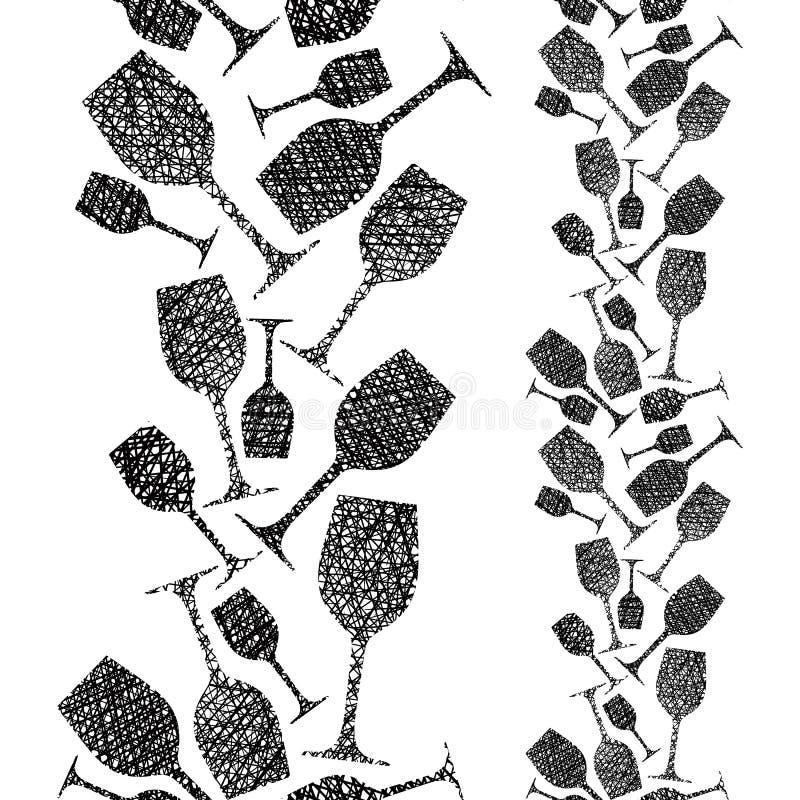 Modelo inconsútil de las copas de vino, fondo inconsútil del tema del lagar, stock de ilustración