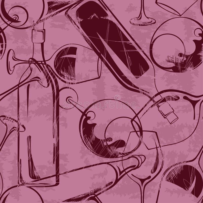 Modelo inconsútil de las copas de vino y de las botellas ilustración del vector