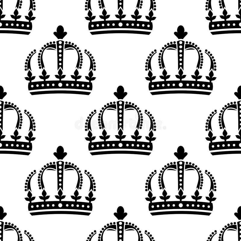 Modelo inconsútil de las coronas reales del vintage stock de ilustración