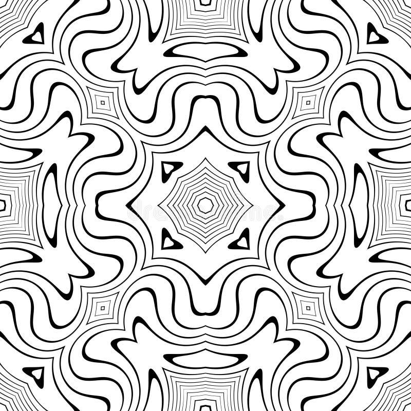 Modelo inconsútil de las curvas del vector blanco y negro Papel pintado abstracto del fondo Ilustración del vector stock de ilustración