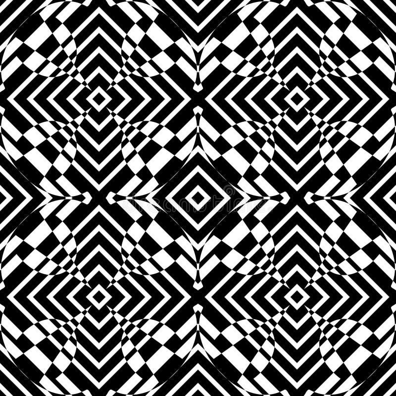 Modelo inconsútil de las curvas del vector blanco y negro Papel pintado abstracto del fondo Ilustración del vector libre illustration