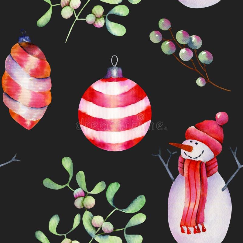Modelo inconsútil de las decoraciones, del muñeco de nieve y del muérdago de la Navidad de la acuarela ilustración del vector