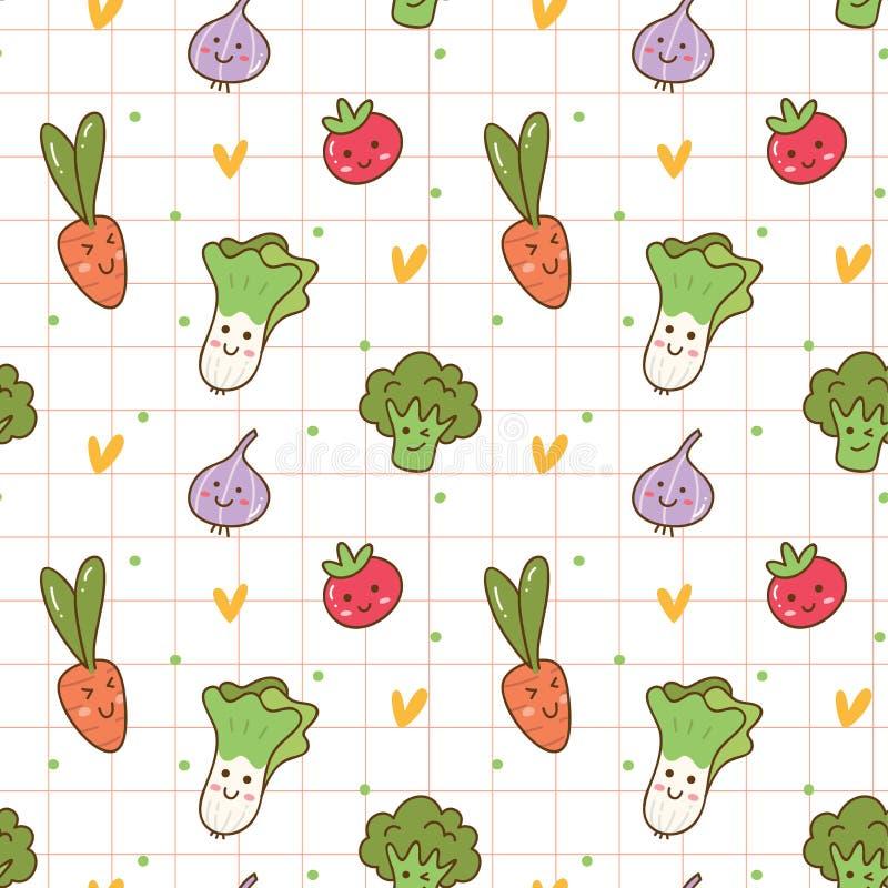 Modelo inconsútil de las diversas verduras del kawaii ilustración del vector