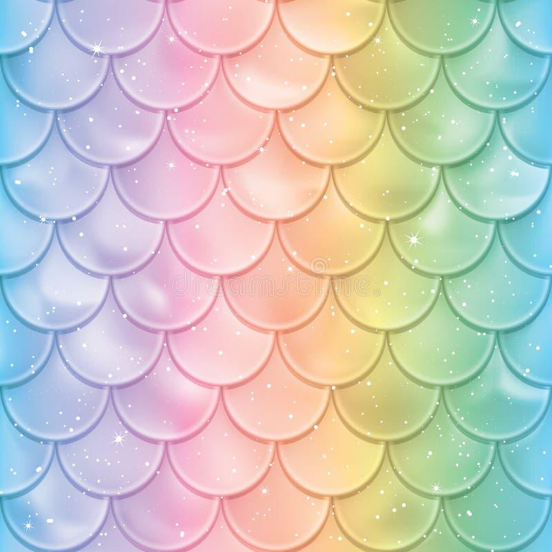 Modelo inconsútil de las escalas de pescados Textura de la cola de la sirena en colores del espectro Ilustración del vector stock de ilustración