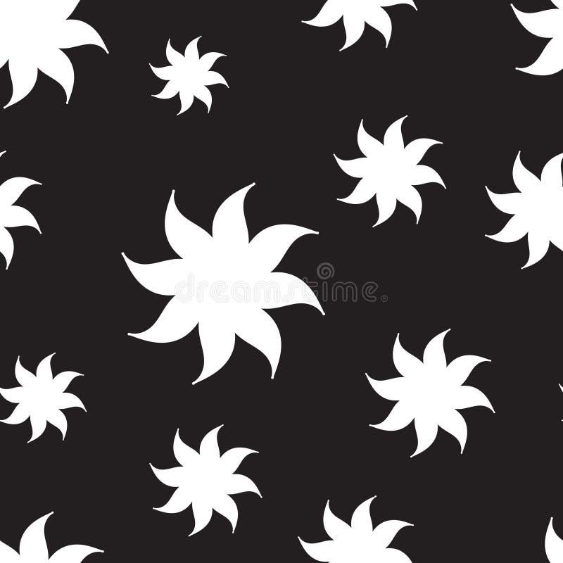 Modelo inconsútil de las estrellas estilizadas Elementos blancos en fondo negro libre illustration