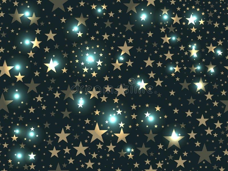 Modelo inconsútil de las estrellas Modelo de estrella mágico Espacio exterior Vector ilustración del vector