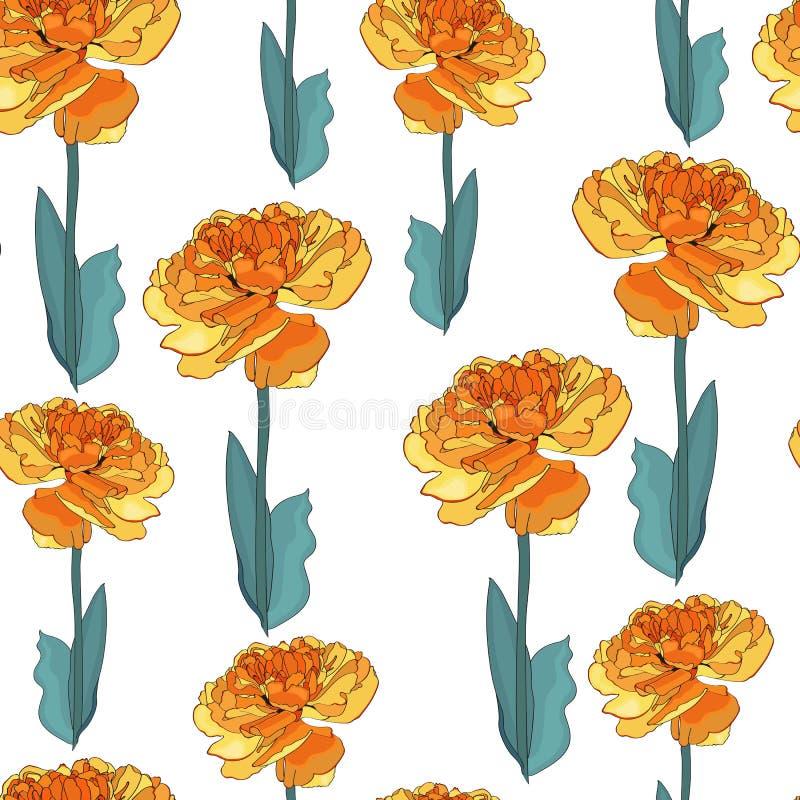 Modelo inconsútil de las flores amarillas de un tulipán libre illustration