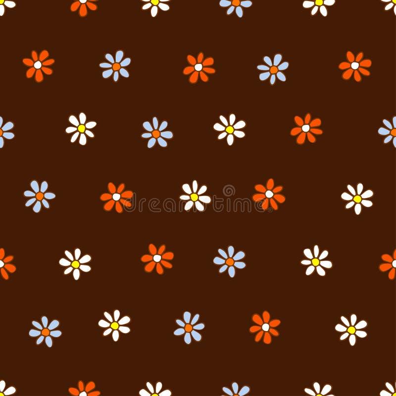 Modelo inconsútil de las flores blancas, azules y anaranjadas stock de ilustración