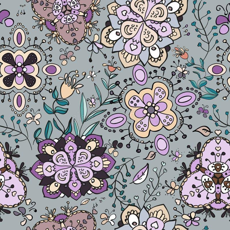Modelo inconsútil de las flores brillantes del garabato stock de ilustración