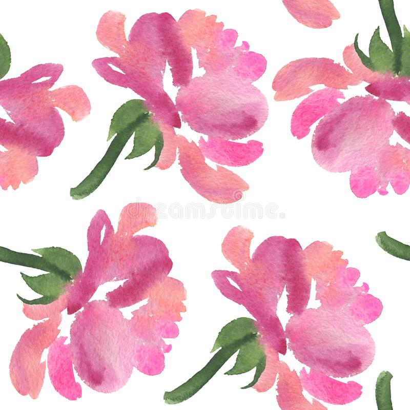 Modelo inconsútil de las flores color de rosa de la acuarela rosada libre illustration