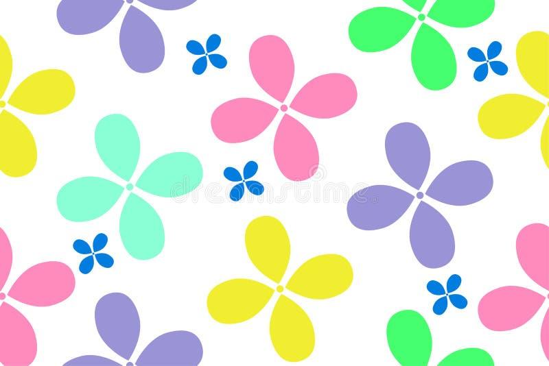 Modelo inconsútil de las flores coloridas para el diseño de las cosas de los niños ilustración del vector