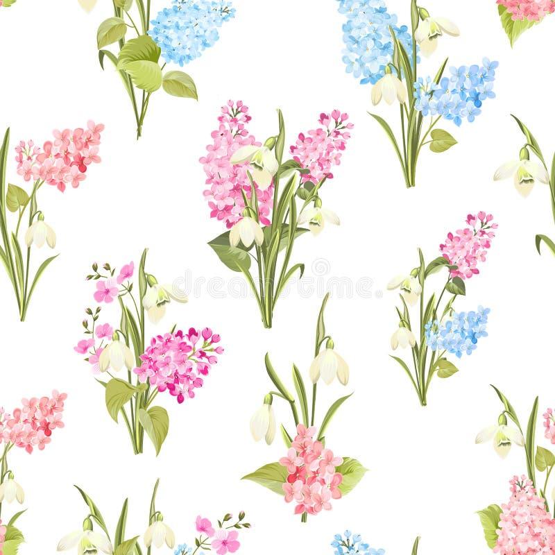Modelo inconsútil de las flores del siringa y del galantus para el modelo de la tela ilustración del vector