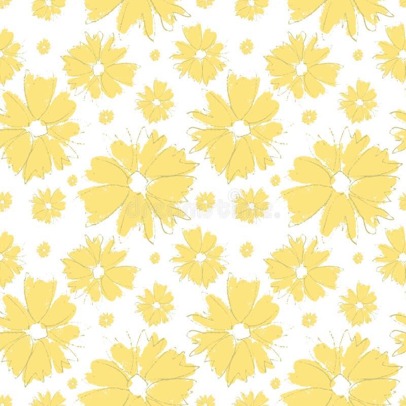 Modelo inconsútil de las flores incompletas exhaustas amarillas de la mano del vector en el fondo blanco stock de ilustración