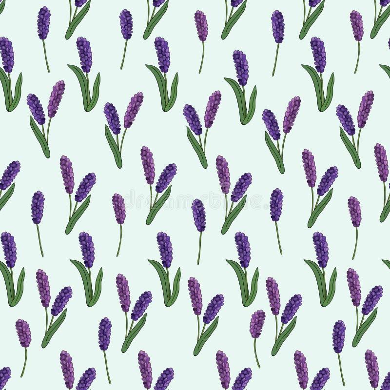 Modelo inconsútil de las flores de la primavera en un fondo azul Vector ilustración del vector