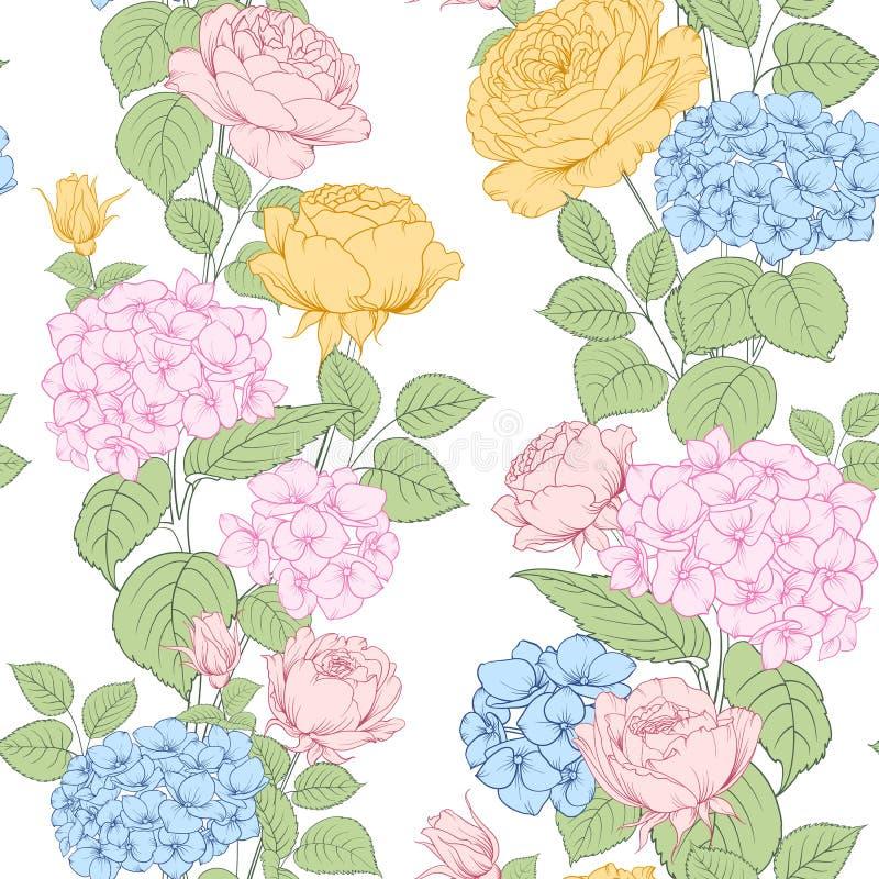 Modelo inconsútil de las flores de la rosa y de la hortensia para el diseño de la tela Arte lujoso de las flores de la primavera ilustración del vector