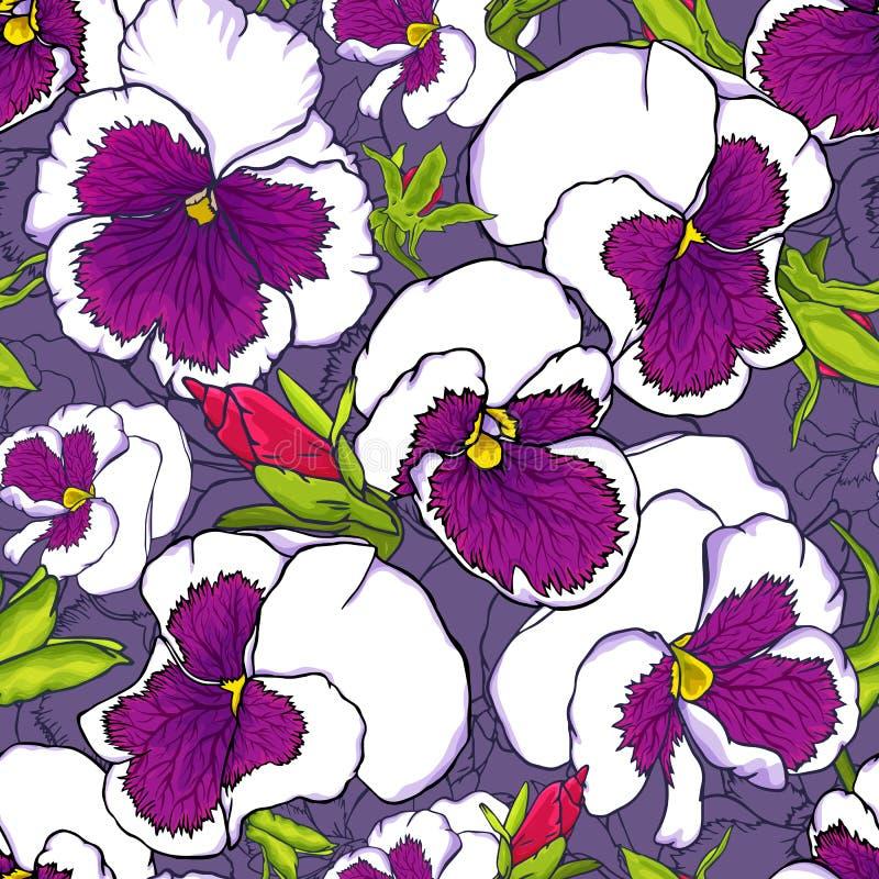Modelo inconsútil de las flores púrpuras frescas exhaustas de la viola de la mano para el diseño de la tela, del papel pintado y  stock de ilustración