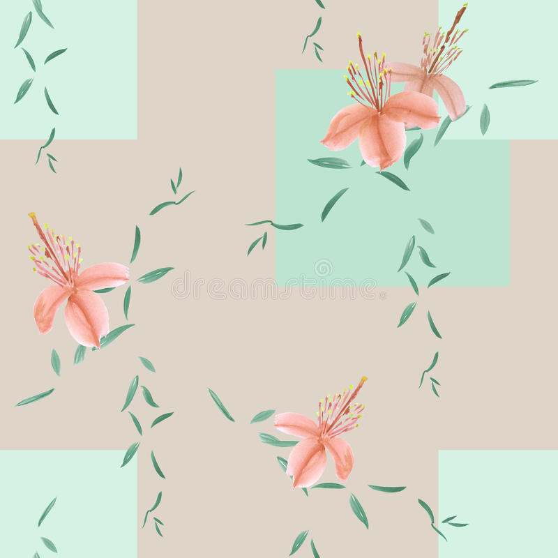 Modelo inconsútil de las flores salvajes del orang y de las ramas verdes en un fondo beige ligero con las figuras geométricas wat stock de ilustración