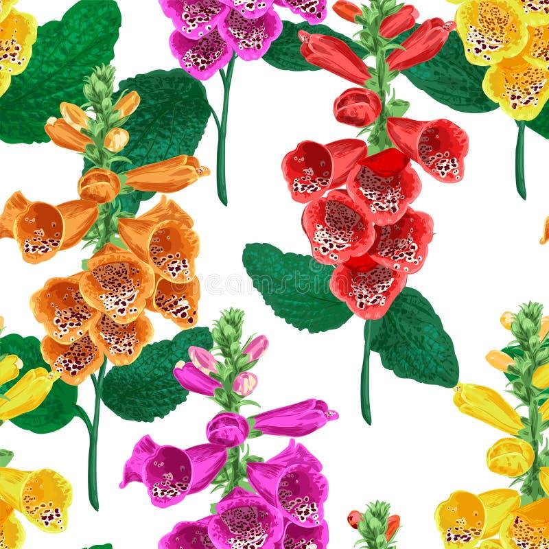 Modelo inconsútil de las flores tropicales Fondo floral del verano con Tiger Lily Flower Diseño floreciente de la acuarela stock de ilustración