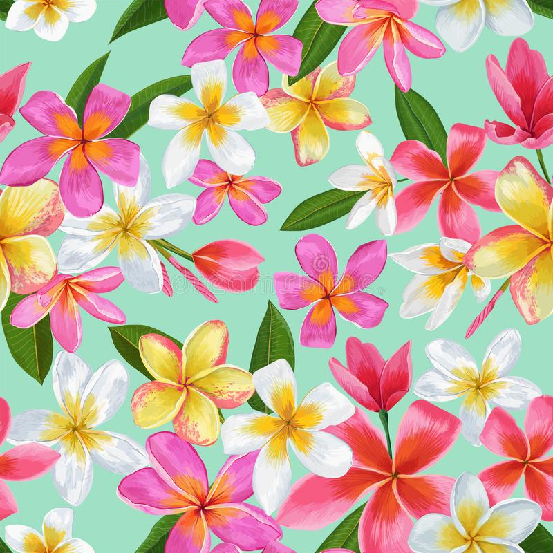 Modelo inconsútil de las flores tropicales de la acuarela Fondo dibujado mano floral Diseño exótico de las flores del Plumeria pa ilustración del vector